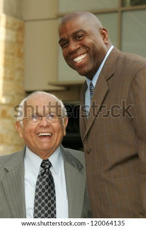 Johnny Grant and Magic Johnson at the Ceremony Honoring Los Angeles Lakers Owner Jerry Buss with the 2,323rd star on the Hollywood Walk of Fame. Hollywood Boulevard, Hollywood, CA. 10-30-06
