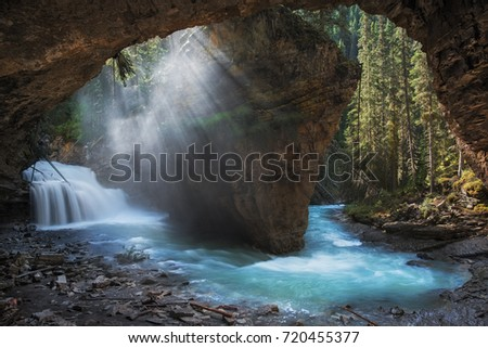 Johnston Canyon Waterfall Banff National Park Sunrise Cave Scene Alberta Canada