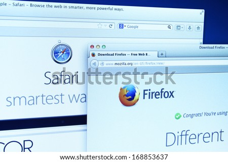 Johor Malaysia Dec 11 2013 Photo of Mozilla Firefox and Safari webpage on a monitor screen Mozilla Firefox and Safari are the famous web browser in the world Dec 11 2013 in Johor Malaysia
