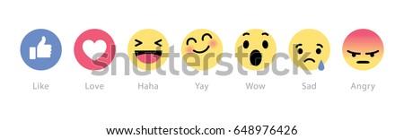 Johor, Malaysia - Feb 25, 2016: Facebook users show range of reactions to new love, haha, sad, angry, wow emoticons, Feb 25, 2016 in Johor, Malaysia.