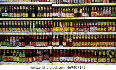JOHOR, MALAYSIA- 30 JULY, 2016: Various of cooking sauce sold in supermarket in Johor, Malaysia. #469407176