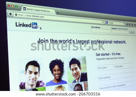 Johor Malaysia May 27 2014 Linkedin is a famous social networking site of the world May 27 2014 in Johor Malaysia