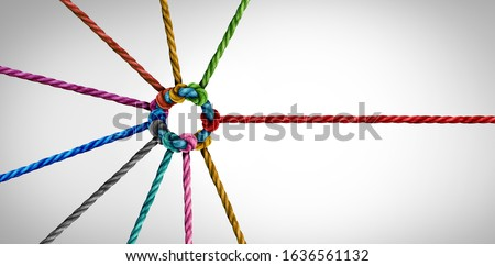 Join a team concept and unity or teamwork as a business metaphor for partnership as diverse ropes connected together as a symbol for cooperation and working collaboration.