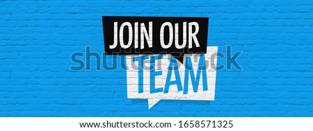 Join our team on brick wall background Foto stock ©