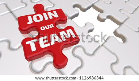 Join our team. The inscription on the missing element of the puzzle. Folded white puzzles elements and one red with text: JOIN OUR TEAM. 3D Illustration