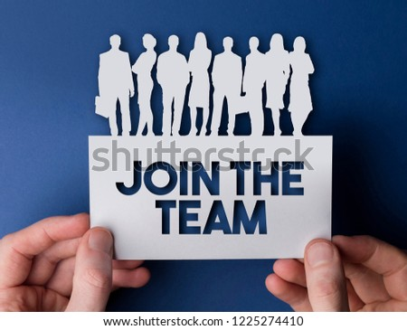 Join the team business people sign. Recruitment and career development concept