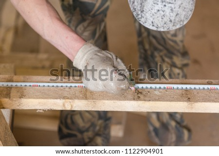 Joiner's tools. Measuring tool for the joiner. Wood processing. The joiner.