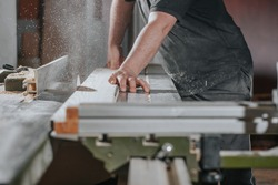 Joinery and wood work concept professional joiner carpenter making sawing furniture handcraft or manufacture