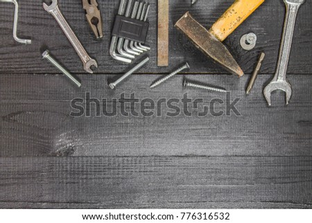 Joinery tools on a dark wooden table. Place for the text. A concept for Father's Day. Top view. Flat laying. #776316532