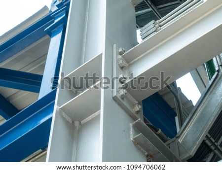 Joint of steel structure with bolt and nut at construction site