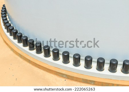 joint of two flanges by bolts and nuts - Plastic screw cap