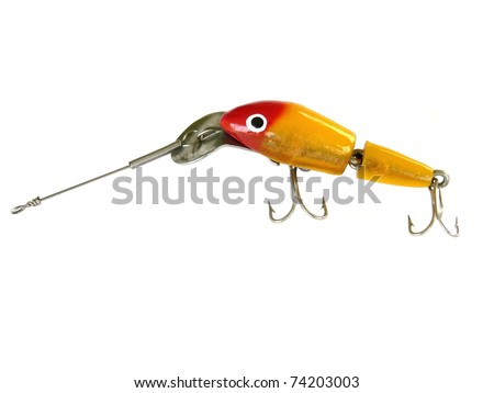 "Jointed or ""injured"" fishing lure from the 1960s or 1970s. Color is redhead gold with a 3-D flash finish."