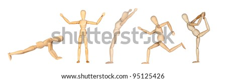 Jointed wooden mannequin doing different positions isolated on white background