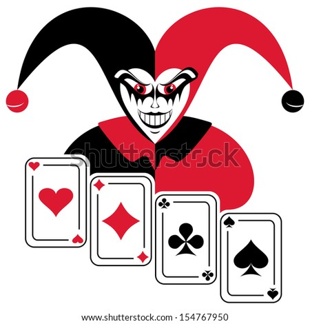 Joker and four playing cards. Abstract composition on a white background. EPS version is available as ID 135509006.