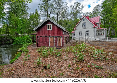 Jokirannan old villa in the vicinity of the Vaaksy Canal, Asikkala, Finland. Currently it is handicraft sales exhibition