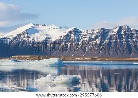 Jokulsarlon, Glacial lake and mountain during late winter, Iceland