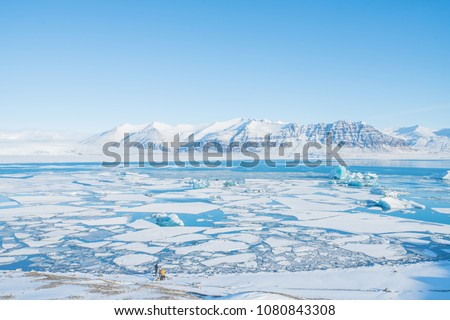 Jokulsarlon is the most famous glacier lagoon in Iceland. A group of travller is watching and taking a photo in front of the lagoon. There are iceberg and glacier floating in the lagoon. #1080843308