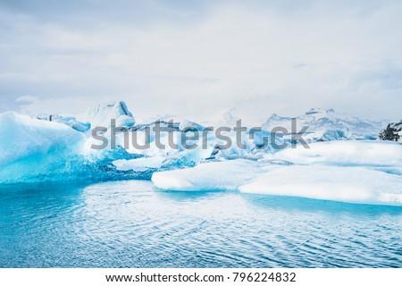 Jokulsarlon lagoon, Iceland.  Beautiful cold winter landscape of Jokulsarlon glacier lagoon, Iceland, in the winter.