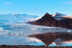 Jokulsarlon Lake Landscape with water reflections, Iceland