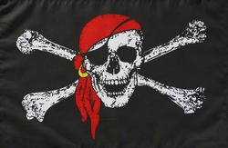 Jolly Roger pirate flag close-up
