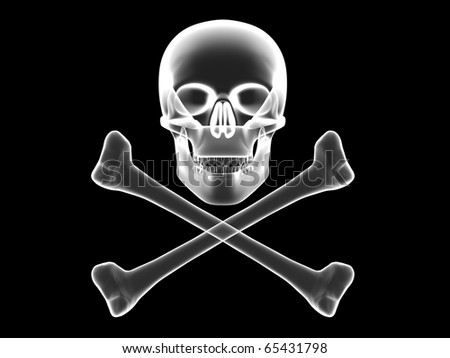 Jolly Roger, skull and crossbones x-ray silhouette. High resolution 3D image