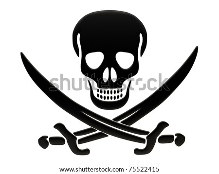 Jolly Roger skull and crossed swords Isolated on white background.