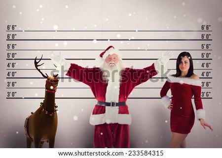 Jolly Santa opens his arms to camera against mug shot background