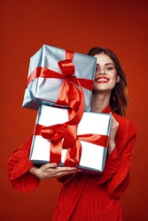 Jolly woman gifts decoration holiday big boxes decoration