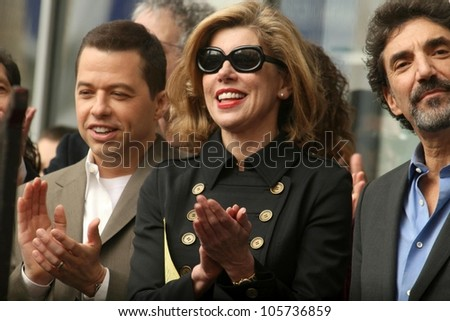 Jon Cryer with Christine Baranski and Chuck Lorre at the Ceremony Honoring Chuck Lorre with the 2,380th Star on the Hollywood Walk of Fame. Hollywood Boulevard, Hollywood, CA. 03-12-09