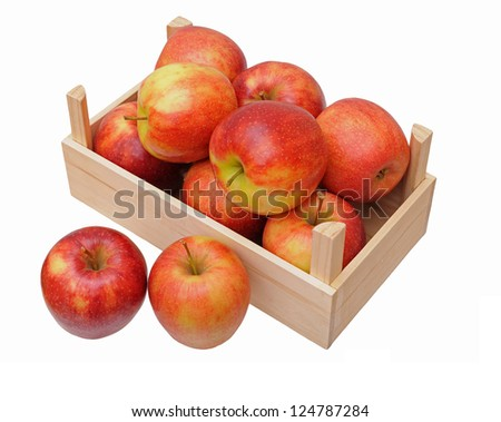 jonagold apples in crate isolated on white background