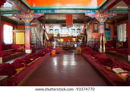 Jonang Monastery from inside in Shimla, India. Jonang Monastery is a Tibetan Buddhist Monastery.