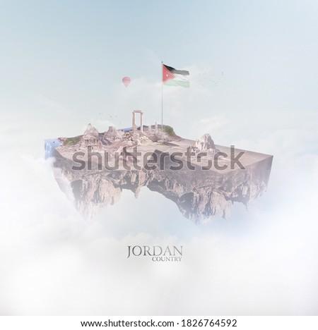 """Jordan country 3d map fly, Translation: """"Jordan. Arab country,the State of Jordan."""""""