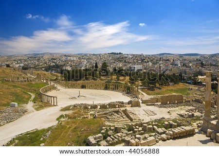 Jordan. Jerash (the Roman ancient city of Geraza). General view of ruins - the oval Forum and the Cardo Maximus with imposing colonnade