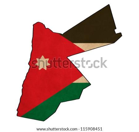 Jordan map on Jordan flag drawing ,grunge and retro flag series