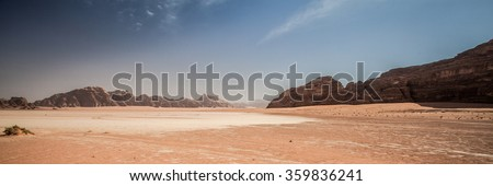 Jordanian desert of Wadi Rum in Jordan. Wadi Rum is known as the Valley of the Moon and the UNESCO World Heritage List.