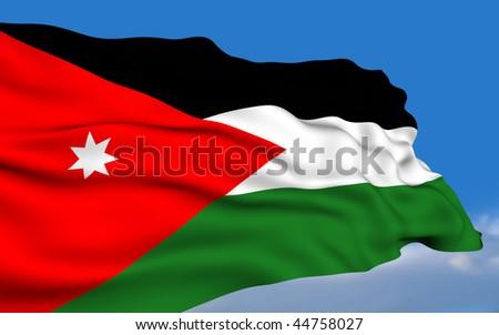 Jordanian flag waving on wind