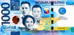 Jose Abad Santos, Vicente Lim, Josefa Llanes Escoda, Centennial celebration of Philippine independence. Portrait from Philippines 1000 Piso 2017 Bank Notes. Philippines money. Closeup Collection.