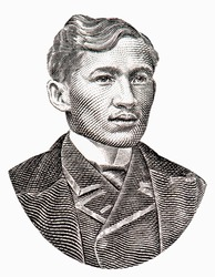 Jose Rizal Portrait from Philippines 2 piso 1896 Banknotes.