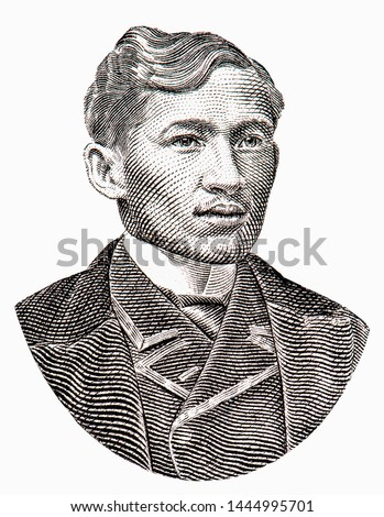 Jose Rizal Portrait from Philippines 2 piso 1896 Banknotes. An Old paper banknote, vintage retro. Famous ancient Banknotes. Collection.
