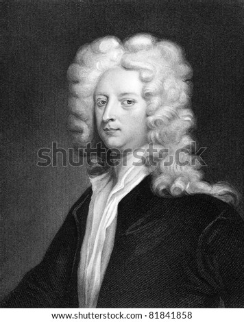 Joseph Addison (1672-1719). Engraved by J.Thomson and published in The Gallery Of Portraits With Memoirs encyclopedia, United Kingdom, 1833.