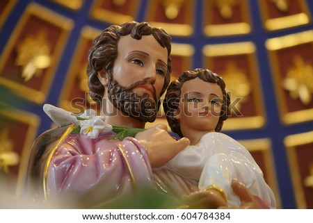 Joseph is a figure in the Gospels, the husband of Mary, mother of Jesus, and is venerated. This Saint Joseph is in the St.Joshep Church at Ayutthaya, Thailand.It's Publish Place.