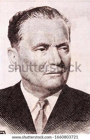 Josip Broz Tito a portrait from old money  Stock fotó ©