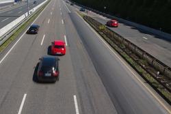 Jostling car running fast on a german autobahn