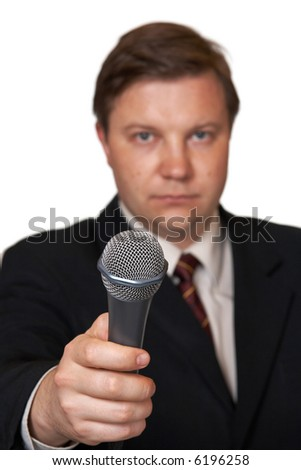 Journalist with microphone, isolated on white background