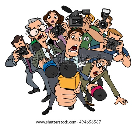 Journalists crowd interviews on a white background