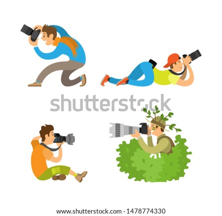 Journalists or reporters spy making reportage raster illustrations. Photographers or paparazzi taking photo with digital cameras from all angles and bush