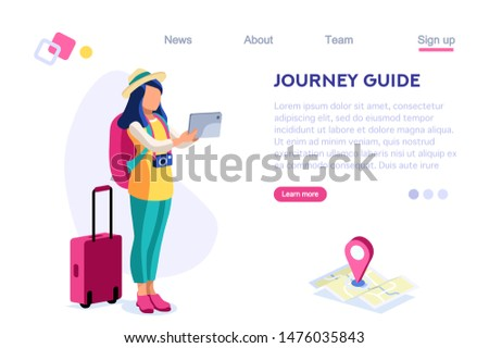 Journey Guide. Person with Luggage. Tourist Collection. Photographing Set, Sight, Art Visiting. Tourism for Young. Travel Clip, Traveling. Cartoon Flat Illustration Hero Images Isometric Banner