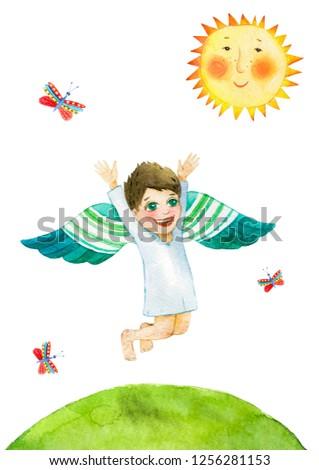 Joy little angel is having fun on the green lawn under the sun. Watercolor illustration