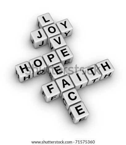 Joy, Love, Hope, Peace and Faith (crossword puzzle reminder of the important things in Life)