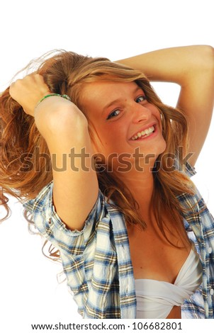 Joy poached - A lively and cheerful girl who wears a shirt over the swimsuit 250